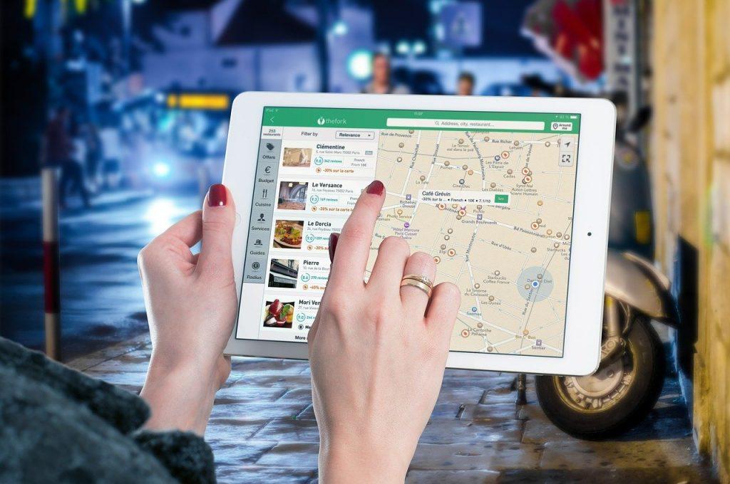 ipad, map, tablet
